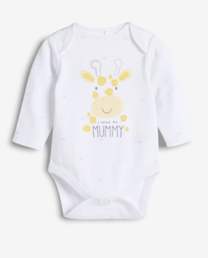 White I Love Mummy Long Sleeve Bodysuit 0 - 18 months - iBuy Africa