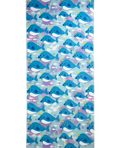Blue Narwhal Printed Beach Towel