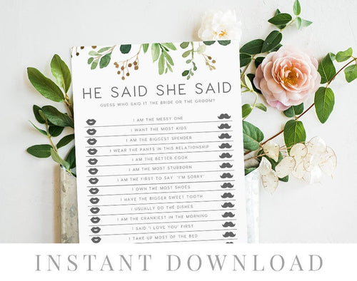 He said she said game printable, INSTANT DOWNLOAD, Printable Wedding Games, Rustic He Said She Said Game, Bride or Groom - Loche - iBuy Africa