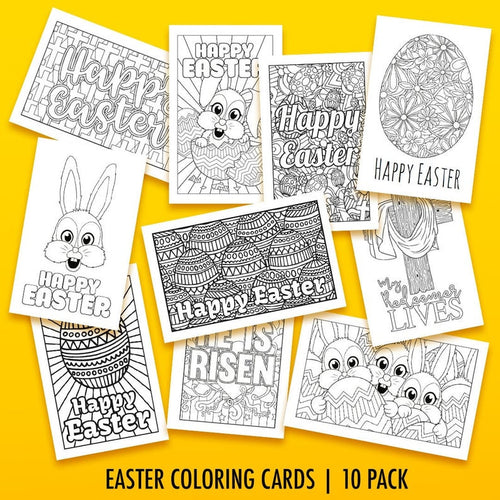 Easter Coloring Cards - 10 pack // Printable Greeting Cards, Easter cards, printable Easter activity, Easter coloring pages, PDF cards, card - iBuy Africa