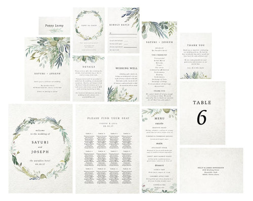 Templett wedding suite, Greenery wedding kit, Editable wedding printables, Watercolor invitation kit, Eucalyptus wedding designs, Sage green - iBuy Africa