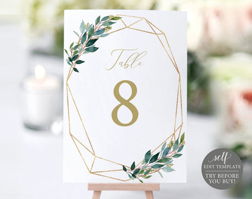 Table Number Template, Wedding Printable, 100% Editable Instant Download - iBuy Africa