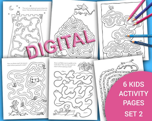 FUNNY MAZES Set 2, Printable Digital Kids Activity and Coloring Pages, Party Activity, Hand Drawn Kids Table Activities, Birthday Party Game - iBuy Africa