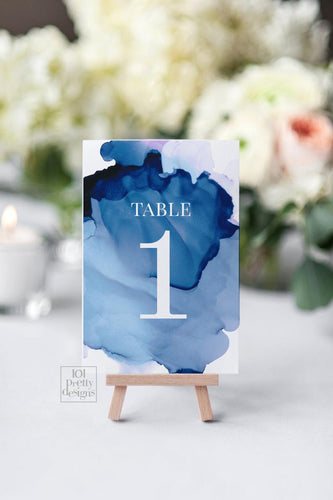 Watercolor table numbers printable table numbers template navy watercolor table numbers modern wedding printables editable text table cards - iBuy Africa