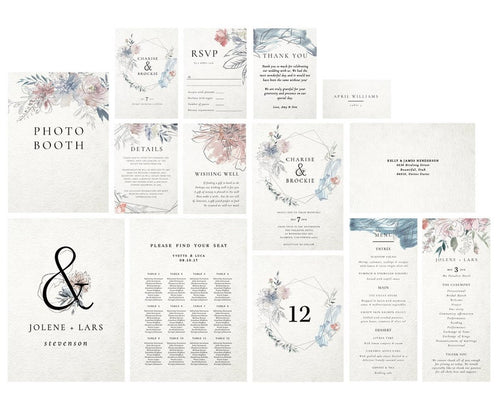 Editable wedding templates, Templett wedding suite, Rustic wedding kit, Complete wedding kit, Watercolor floral wreath, Wedding printables - iBuy Africa