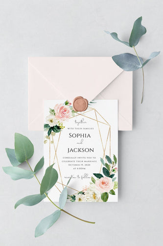 floral wedding invitation template download, wedding printable, greenery invitation, pink roses, gold geometric A01 - iBuy Africa