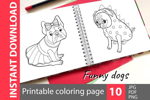 Funny dog coloring book printable page pdf. Cute puppy line clip art png. Animal coloring book jpg. Kid's illustration instant download - iBuy Africa