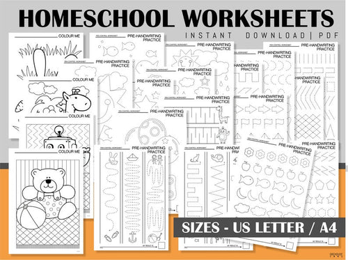 Homeschool Printables Handwriting practice sheets Coloring pages Tracing worksheets for kids Home Children activities Instant download PDF - iBuy Africa