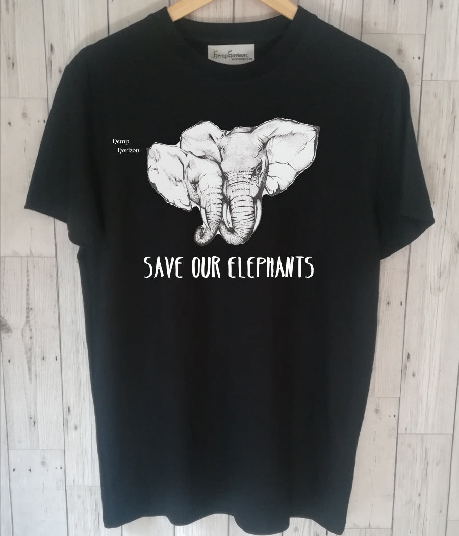 Hemp Organic Cotton T'shirt With Elephant Print - Hemp Horizon