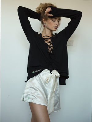 Hemp lace-up top - Hemp Horizon