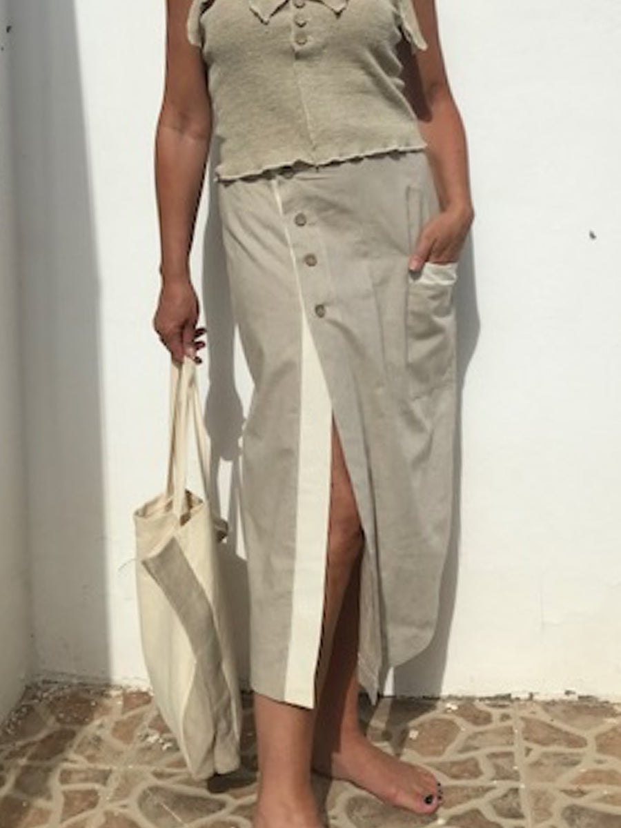 Mid length 100%  hemp linen skirt - Hemp Horizon