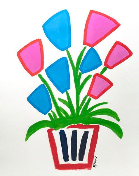 Teddy mcdonald contemporary fine art flowers pink blue pot red acrylic painting
