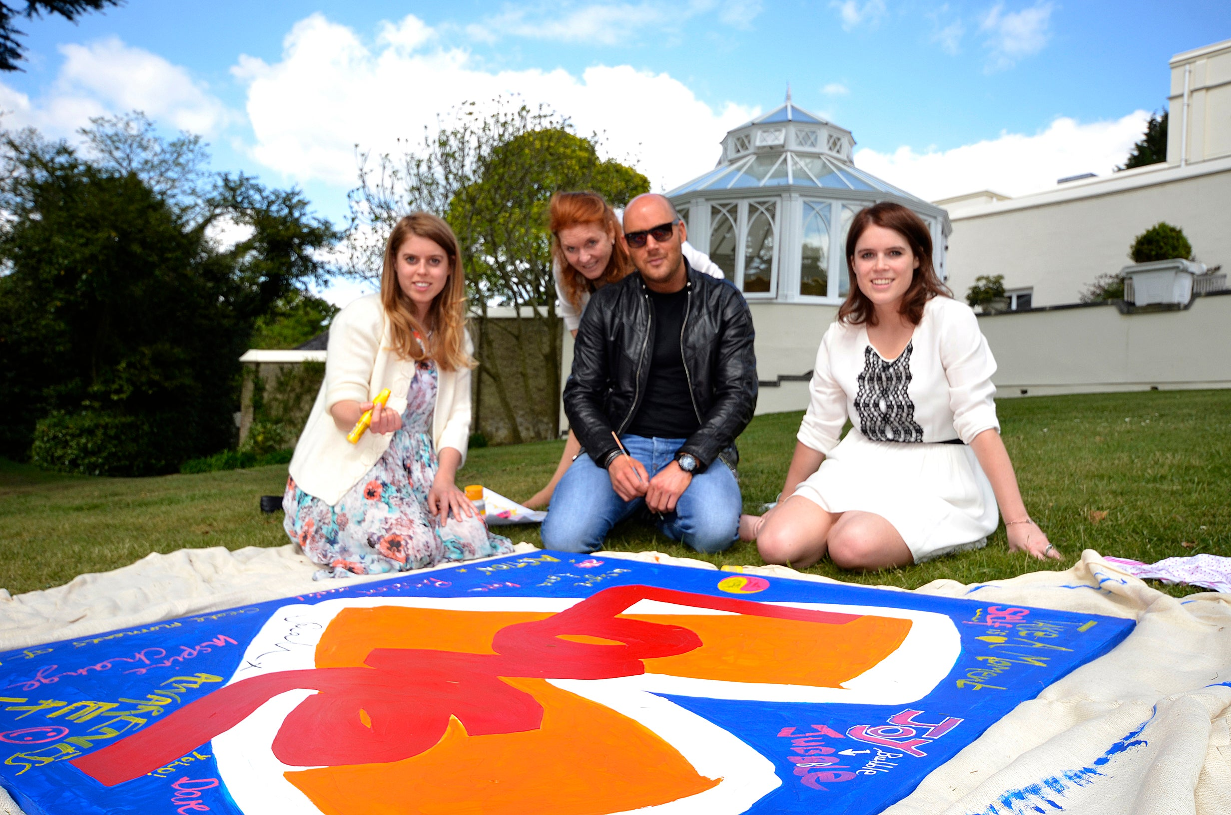 Teddy McDonald with Princess Eugenie, Princess Beatrice contemporary art painting royal love at royal lodge