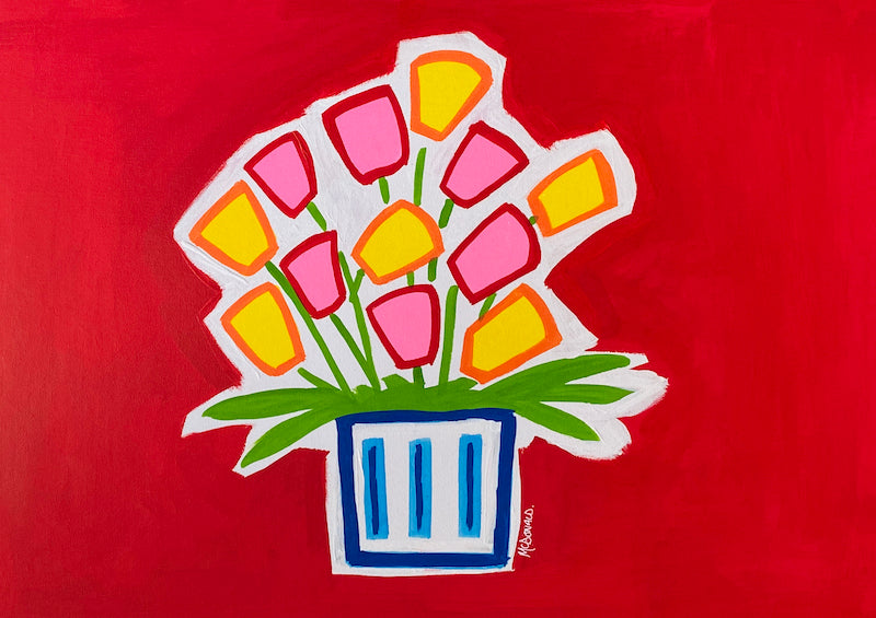 Teddy McDonald contemporary fine art painting flowers pink yellow red blue pot