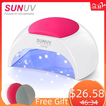 Load image into Gallery viewer, SUNUV SUN2C 48W Nail Lamp UV Lamp SUN2 Nail Dryer for UVLED Gel Nail Dryer Infrared Sensor with  Rose Silicone Pad Salon Use