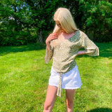 Brielle Green Spotted Blouse