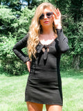 1 SMALL LEFT! Strike A Pose Black Knot Dress/Top