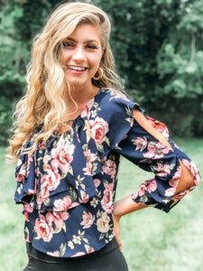 Pep In Your Step Navy Floral Blouse