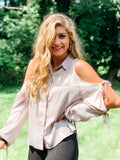 2 SMALLS LEFT! From Day To Night Light Gray Blouse