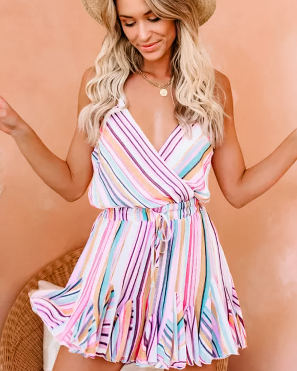 Pink Multicolor Stripes Ruffle Mini Dress