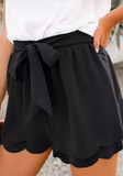 Black Scalloped Tie Front Shorts