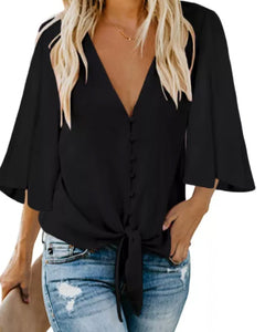 Black Button Tie Top