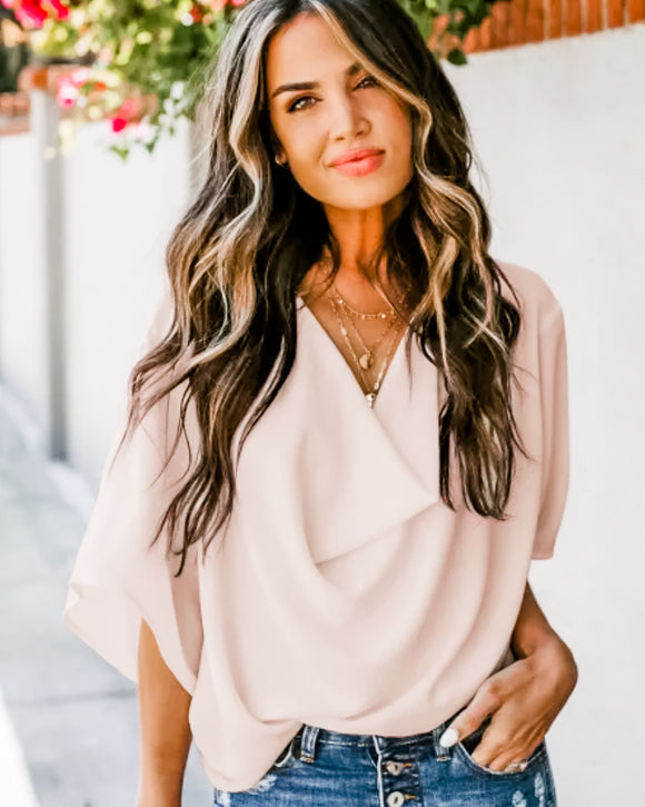 Apricot Draped Blouse