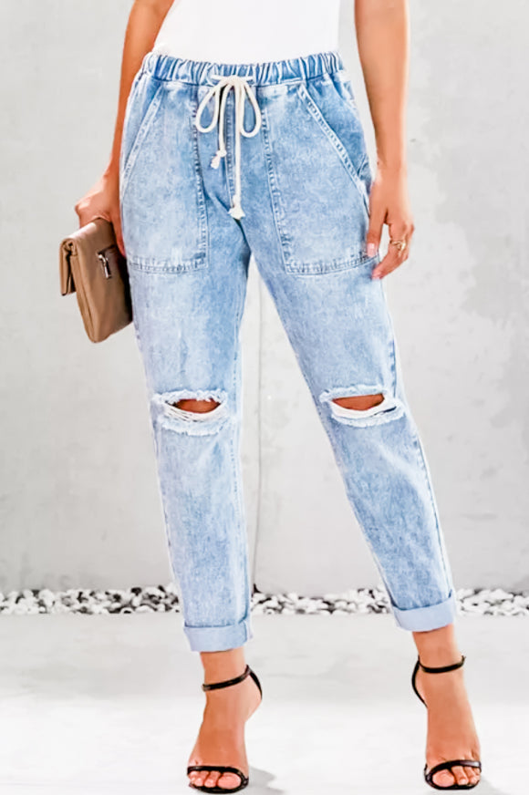 Distressed Pocketed Denim Jogger