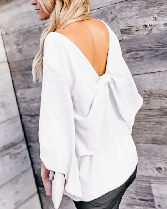 Bow Back White Blouse