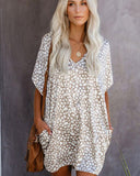 Tara Leopard Casual T Shirt Dress with Pockets