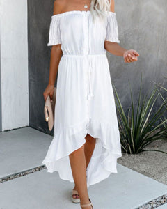Ashton White Glaze High Low Maxi Dress