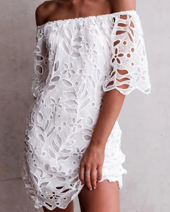 Dream White Eyelet Off The Shoulder Dress