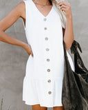 Reilly White Pocketed Button Down Tank Dress
