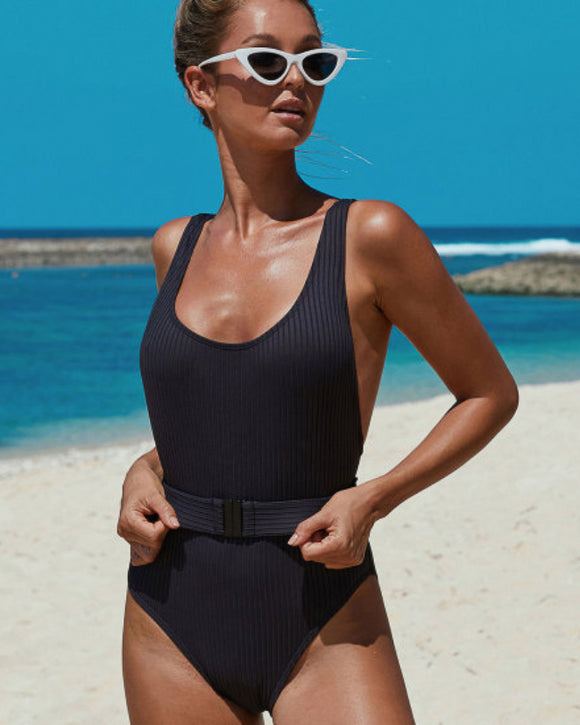 Larsa Black Ribbed One-piece Swimsuit with Belt