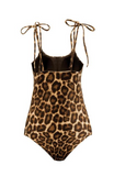 Mamacita Leopard Print High Cut One Piece Swimsuit