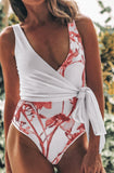 Too Perfect Floral Wrap One Piece Swimsuit