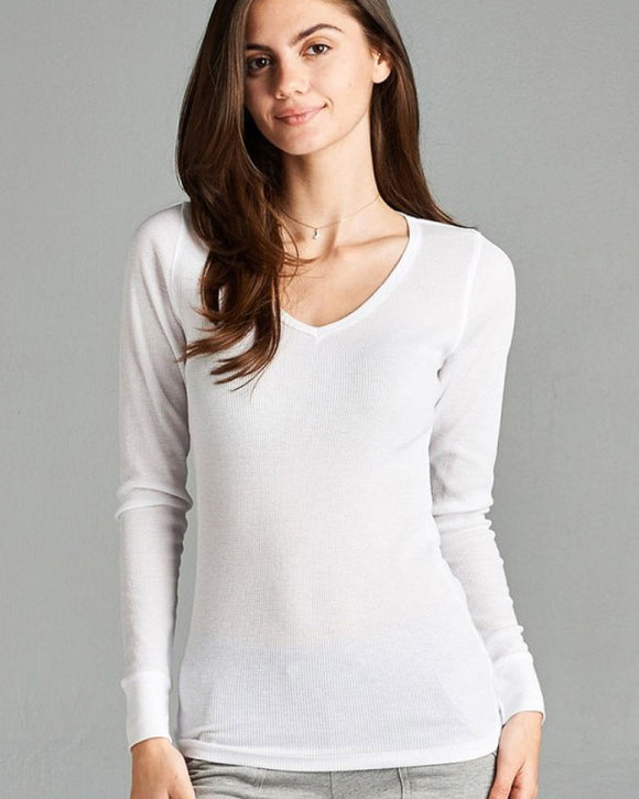 Alyssia Long Sleeve V-Neck Thermal Top