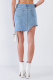 Lizzie Asymmetrical Raw Cut Hem Mini Skirt