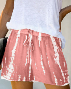 Comfort Zone Pink Tie Dye Drawstring Casual Shorts