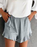 Marie Gray Blue Linen Cotton Pocketed Flutter Shorts