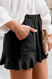 Marie Black Linen Cotton Pocketed Flutter Shorts