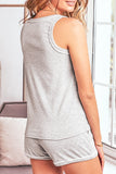 Essence Gray Knit Sleeveless Shorts Pajamas Set