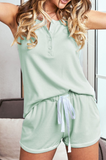 Essence Green Knit Sleeveless Shorts Pajamas Set