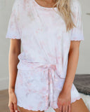 Compliments Pink Tie Dye Short Sleeve Shorts Lounge Set