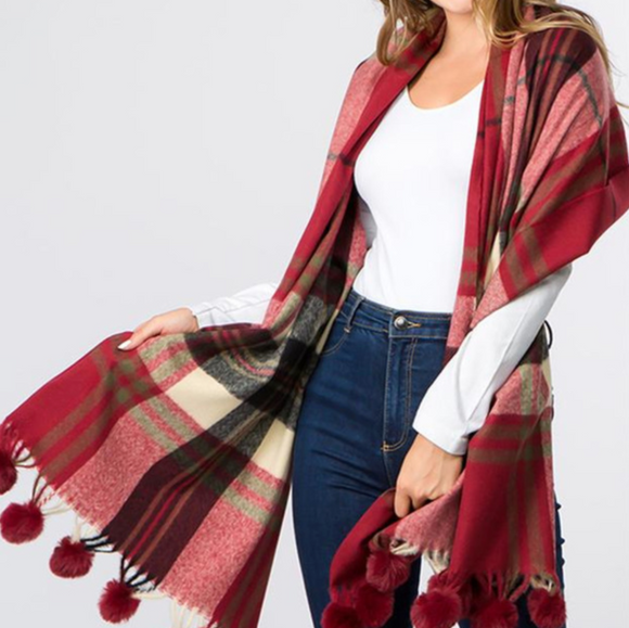 Everly Red Plaid Pom Pom Scarf