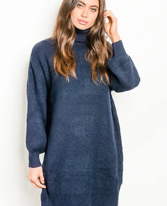 Break The Ice Navy Sweater Dress
