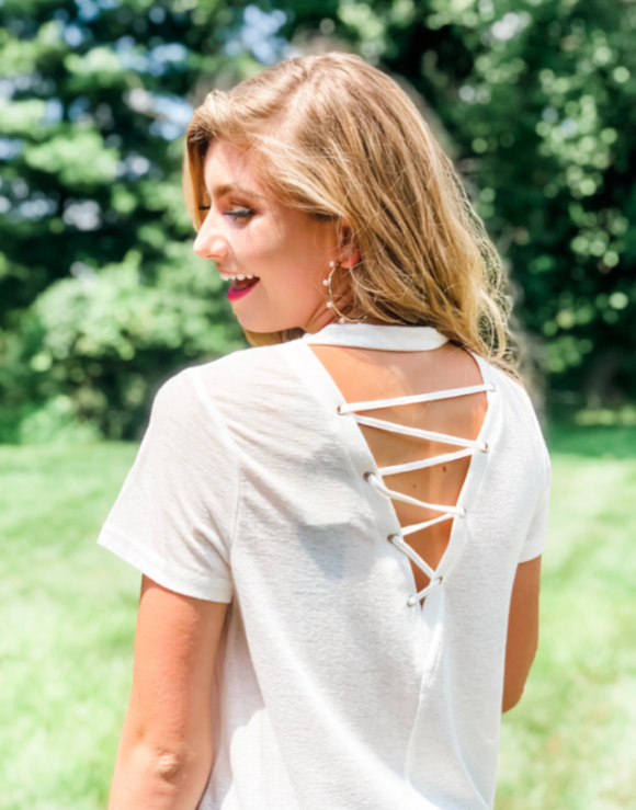 Deep Dive Open Back Blouse