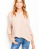 Butter Me Up Taupe Blouse