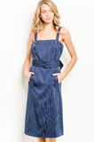 1 SMALL LEFT! Class It Up Navy Pinstripe Dress
