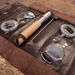 Leather Barware Roll Bag -  Stainless Steel